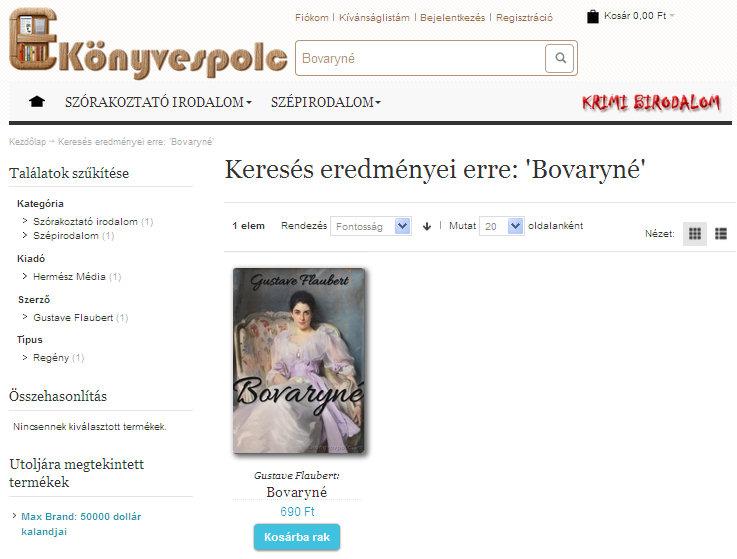 6. ábra - E-könyvespolc: Gustave Flaubert: Bovaryné