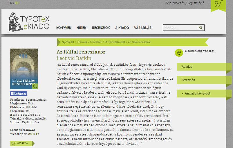 8. ábra - Typotex: Leonyid Batkin: Az itáliai reneszánsz