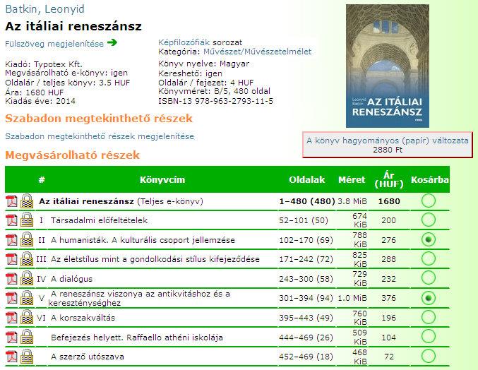 9. ábra – A Typotex Kft. e-könyves adatlapján akár csak fejezetek is vásárolhatók