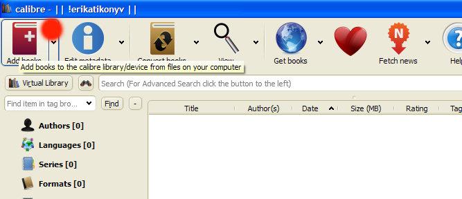 2. ábra - A lementett epub típusú könyv hozzáadása a Calibre könyvtárához