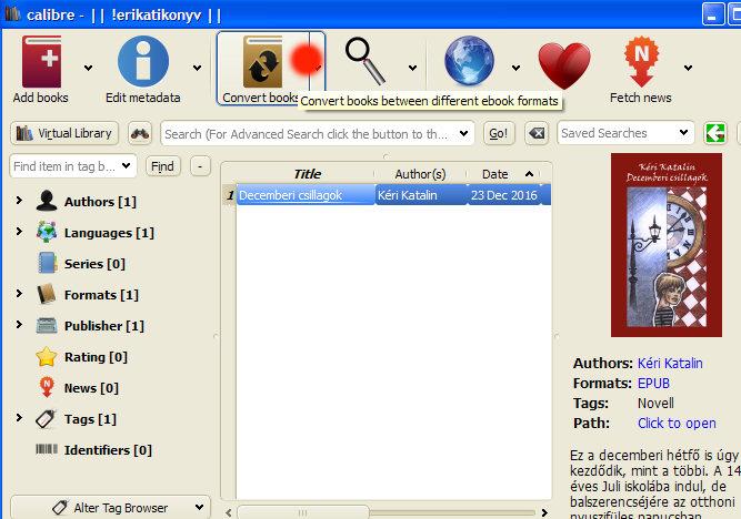 4. ábra - Az epub típusú könyv konvertálásának megkezdése