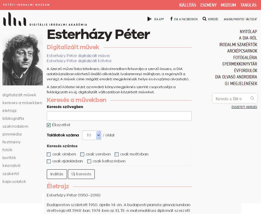 1. ábra – Az író adatlapja a PIM Digitális Irodalmi Akadémiában