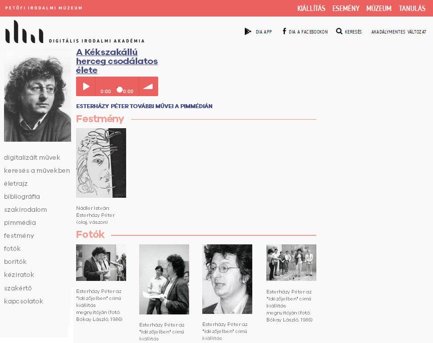3. ábra – Hanganyagok, festmények és fényképek is elérhetőek a PIM DIA oldalain