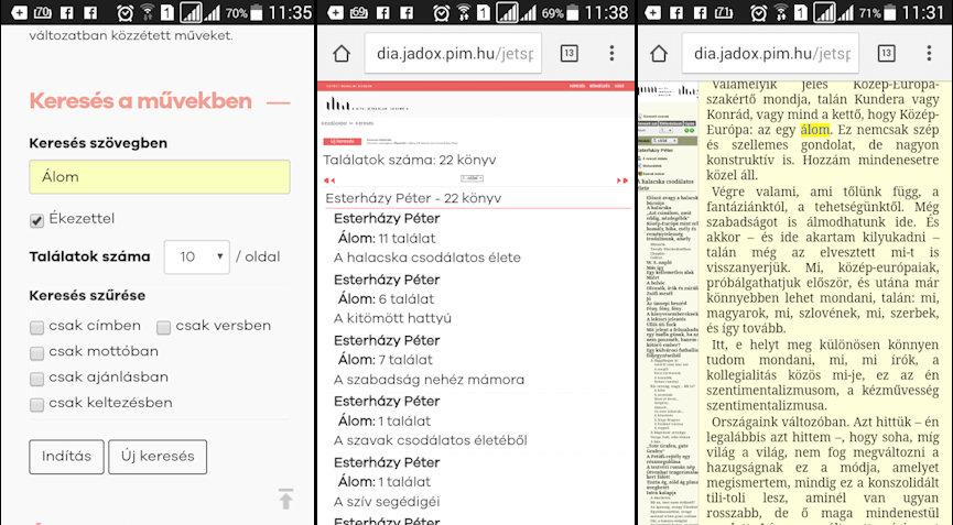 4. ábra – Online, mobiltelefonnal is kényelmesen olvashatjuk a tartalmakat