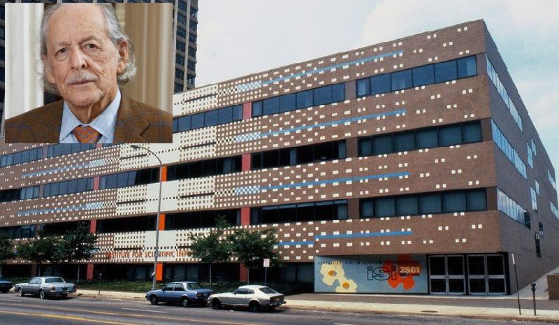 Az Institute for Scientific Information (ISI) épülete és az alapító, Eugene Garfield (1925-2017)